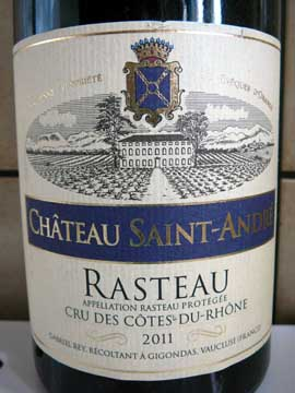Château Saint-André Rasteau 2011