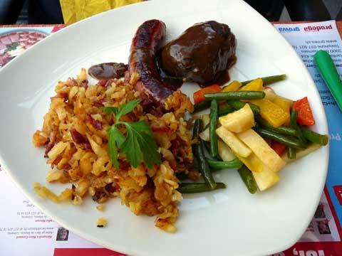 Saucisse à rôtir et atriaux du Val d'Illiez, roestis