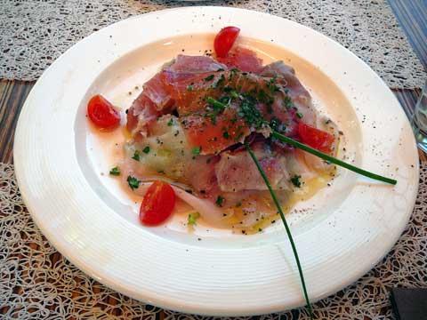 Carpaccio de thon, espadon et saumon mariné