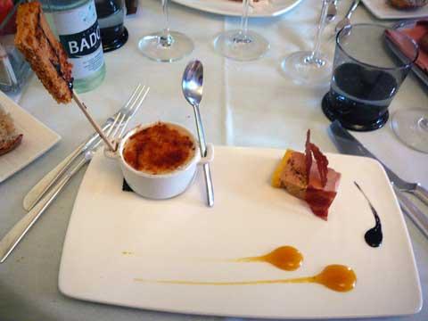 Tiramisu de foie gras de canard au pain d'épices et sa terrine mi-cuit