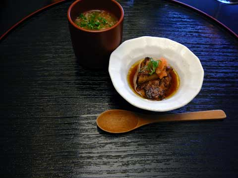 Foie gras poêlé, sauce Ponzu; Flan aux oeufs à la japonaise