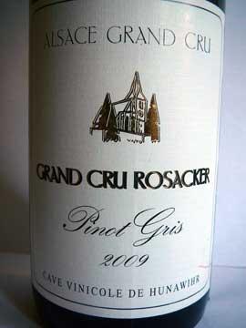 Pinot Gris Grand Cru Rosacker 2009, Cave de Hunawihr