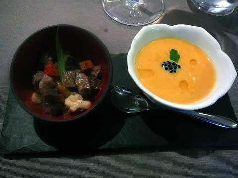 Velouté de patates douces et oeuf de haddock & Pot au feu du chef en salade