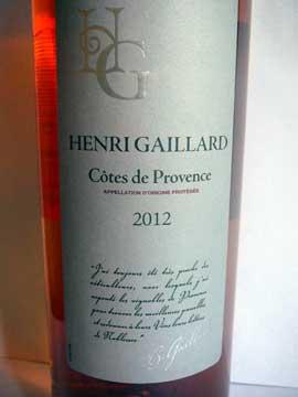 Côtes de Provence Henri Gaillard 2012