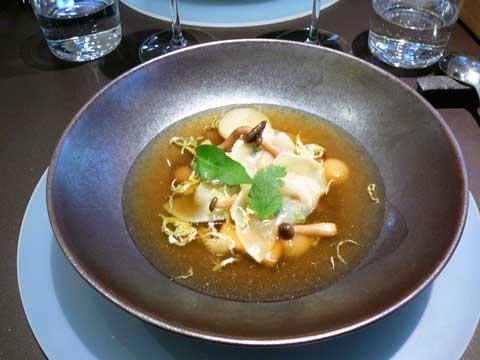 Ravioles de foie gras, coing