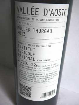 Müller Thurgau 2013, Institut Agricole Régional Aoste