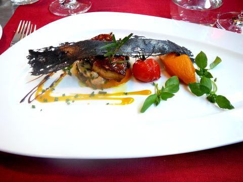 Escalope de foie gras poêlé, champignons et purée de carottes douces