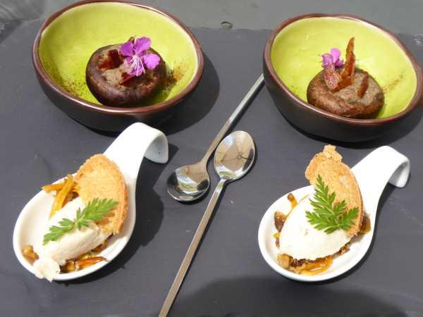 Mousse aux deux poissons et champignons farcis (amuse-bouche)