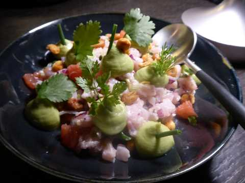 The féra that swam to Japan : ceviche de féra du lac, maïs croquant, avocat
