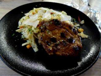Echine de porc au cidre, tagliatelles fraîches aux légumes de saison