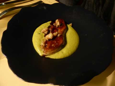 "Foie gras de canard ""poché/brûlé"", caramel d'estragon"