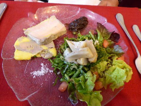 Terrine de foie gras, salade d'artichauts