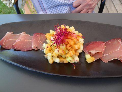 Salade de melon, jambon cru d'Essert